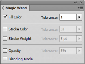 Option untuk Magic Wand Tool di Illustrator.